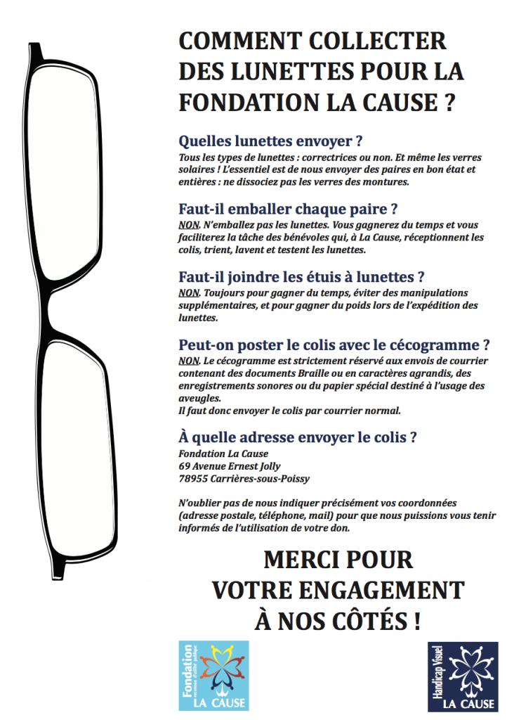 Affiche pour collecte de lunettes