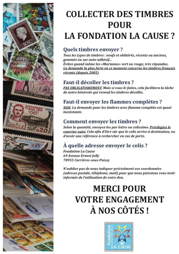 """Affiche """"collecter des timbres pour la Fondation La Cause ?"""""""